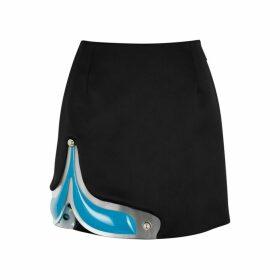 Christopher Kane Black Gel-panelled Satin Mini Skirt