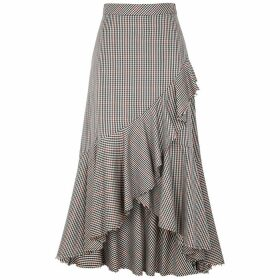 Palones Nancy Checked Ruffle-trimmed Midi Skirt