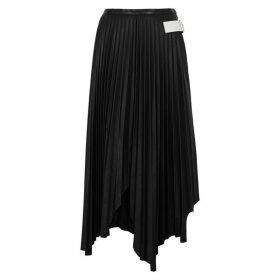 Helmut Lang Black Pleated Leather Midi Skirt