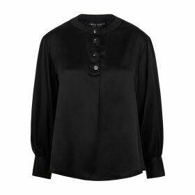 Lindsay Nicholas New York - Poet Blouse In Black Silk Satin