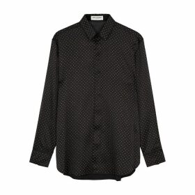 Saint Laurent Black Embellished Silk-satin Shirt