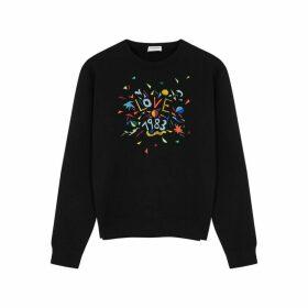 Saint Laurent Black Embroidered Cotton Sweatshirt