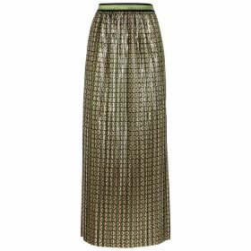 Palones Printed Metallic Plissé Skirt