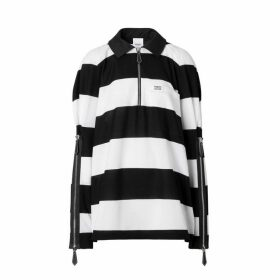 Burberry Zip Detail Striped Cotton Pique Oversized Rugby Shirt