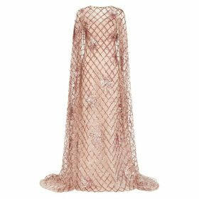 Pamella Roland Pink Embellished Cape-effect Tulle Gown