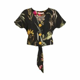 Tomcsanyi - Palma Tie Front Button Top 'Dark Botanical'