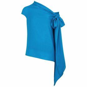 Roland Mouret Ozora Blue One-shoulder Silk-georgette Top