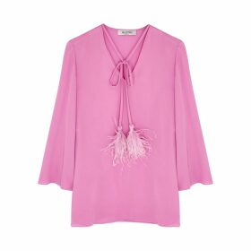 Valentino Pink Feather-trimmed Silk Blouse