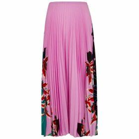 Valentino Pink Printed Plissé Midi Skirt