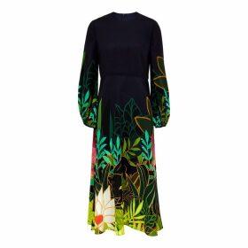 Valentino Navy Printed Silk Midi Dress