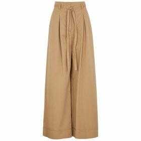Tory Burch Camel Wide-leg Cotton Trousers