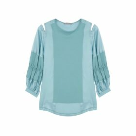 HIGH Clever Turquoise Cotton And Silk Blouse