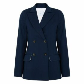 Rosetta Getty Navy Double-breasted Stretch-cotton Blazer