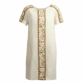 Souk Indigo - Emily Embroidered Gauze Dress Ecru