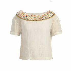 Souk Indigo - Maya Embroidered Gauze Blouse Ecru