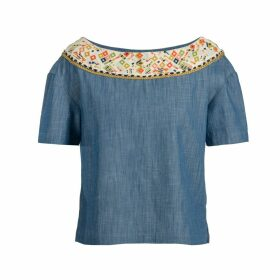 Souk Indigo - Maya Embroidered Denim Blouse
