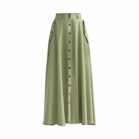 PAISIE - Flo Maxi Skirt In Olive Green