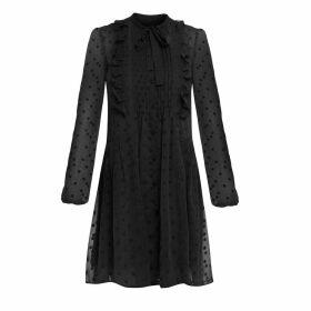 Cliché Reborn - Polka Dot Shirt Dress With Frill Detail In Black