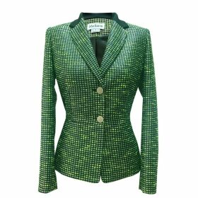 Mellaris - Henley Jacket Green & Silver Metallic Tweed