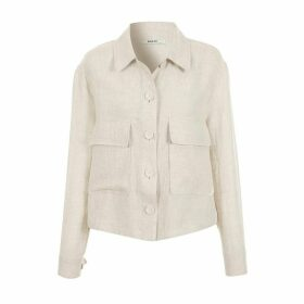 blank 03 - Linen Cropped Shirt Jacket Light Beige