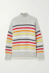 La Ligne - Marin Striped Wool And Cashmere-blend Turtleneck Sweater - Gray