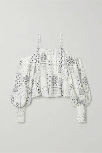 By Malene Birger - Cold-shoulder Printed Twill Blouse - White