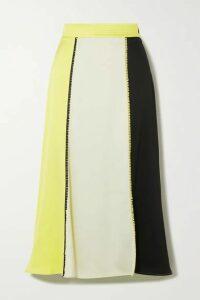 Stine Goya - Jada Picot-trimmed Paneled Satin Midi Skirt - Chartreuse