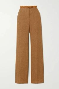 Max Mara - Salubre Leather And Satin-trimmed Linen Wide-leg Pants - Camel