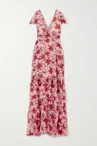 Eywasouls Malibu - Kimi Tiered Ruffled Floral-print Chiffon Dress - Pink