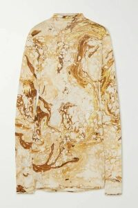 Jil Sander - Draped Printed Silk-jersey Top - Beige