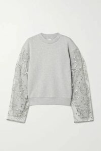 Dries Van Noten - Herosi Embellished Tulle-paneled Cotton-blend Jersey Sweatshirt - Gray