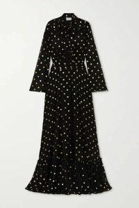 Redemption - Pussy-bow Ruffled Metallic Polka-dot Chiffon Gown - Black