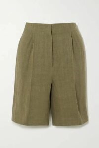 LOULOU STUDIO - Bermuda Pleated Linen Shorts - Green