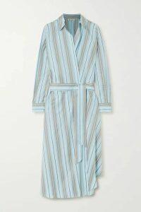 Loro Piana - Belted Striped Cotton-poplin Wrap Dress - Light blue