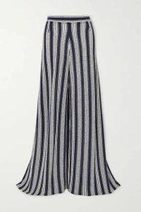 Three Graces London - Filippa Striped Cotton-blend Wide-leg Pants - Navy