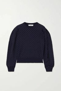 Michael Kors Collection - Studded Merino Wool Top - Midnight blue