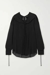 Ann Demeulemeester - Lace-up Ruffled Chiffon Blouse - Black