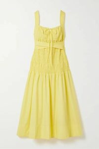 Self-Portrait - Belted Shirred Cotton-poplin Midi Dress - Yellow