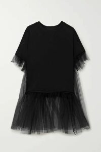 MM6 Maison Margiela - Cotton-blend Jersey And Tulle T-shirt - Black