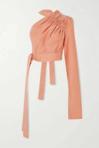 Aleksandre Akhalkatsishvili - One-shoulder Ruched Cotton Blouse - Blush