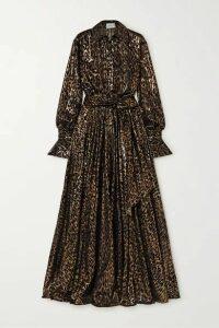 Redemption - Belted Metallic Flocked Silk-blend Gown - Black