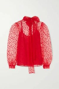 Costarellos - Pussy-bow Polka-dot Flocked Tulle Blouse - Red
