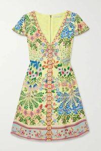 Alice + Olivia - Hadley Floral-print Crepe De Chine Mini Dress - Yellow