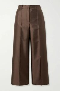 Givenchy - Cropped Wool And Silk-blend Satin-twill Straight-leg Pants - Chocolate