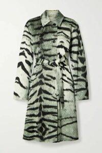 Dries Van Noten - Ramble Tiger-print Satin Trench Coat - Green