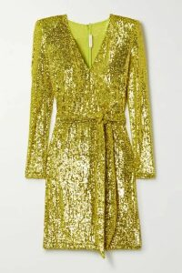 Naeem Khan - Belted Sequined Stretch-tulle Mini Dress - Chartreuse