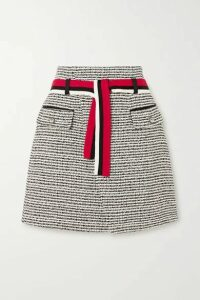 Maje - Belted Metallic Cotton-blend Tweed Mini Wrap Skirt - Ecru