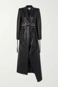 Alexander McQueen - Fringed Eyelet-embellished Leather Coat - Navy