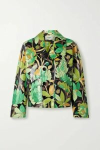 Fendi - Double-breasted Floral-print Coated Cotton-twill Jacket - Green