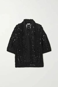 Brunello Cucinelli - Opera Sequin-embellished Open-knit Cotton Cardigan - Black